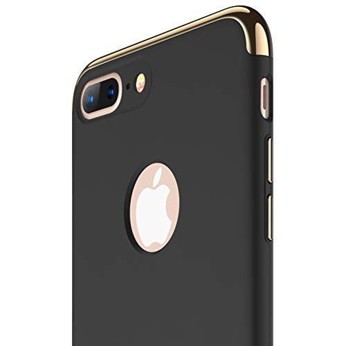 RANVOO iPhone 8 Plus Case, Slim Fit Thin Hard Stylish Cover 3 in 1 Detachable Case [Support Wireless Charging], Black [Clip-ON Series]