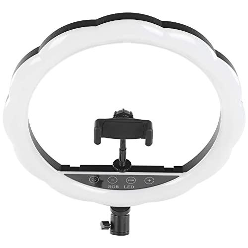 Akozon Anillo de luz LED con trípode Fotografía colorida de la luz del anillo de LED RGB de 12 pulgadas Llene la lámpara de luz de video con la abrazadera del teléfono Lámpara colorida que cambia de c