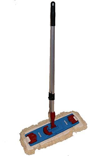 cleanSv® MopSet Lamo Laschenmop 50 cm, Klapphalter für Laschenmop, 1 Laschenmop und einen Teleskopstiehl