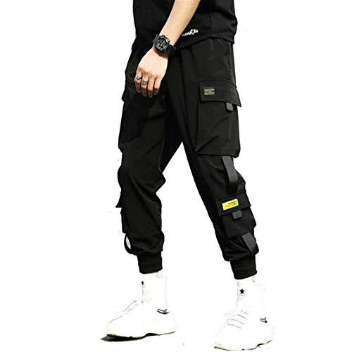QNONAQ Hombre Hip Hop Pantalones Harem Negro Pantalones Hombres Cintura elástica Pantalones Punk con Cintas Casual Slim Jogger Pantalones (Color : Black, Size : X-Small)