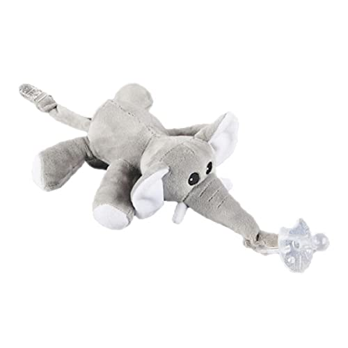 Baby Elephant Pacifier Holder Detachable Pacifier Soft Plush Stuffed Animal Toys with Tail Clip for Infants Silicone Pacifier 1PC