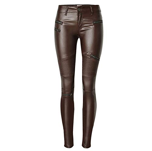 huateng Kunstleder Niedrige Taille Bleistift Jeans Reithosen Stretch Leggings Sexy Enge Hohe Taille Hosen Stretch Knight Leggings