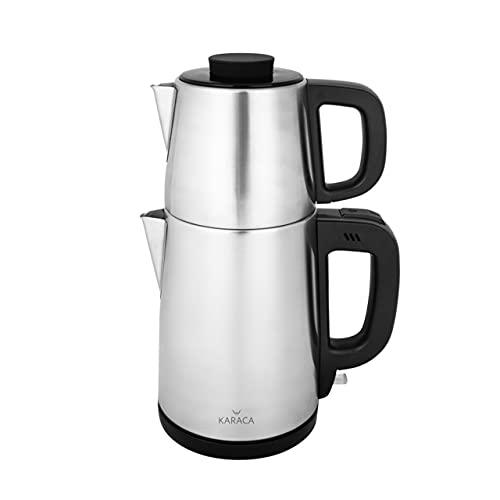 KARACA Tea Time Teemaschine Tea Break Teemaschine Inox Schwarz, Tee, Tea maker, Caydanlık, Demlik Wasserkocher Teekanne Wahlschalter Wasser aufkochen/heiß halten