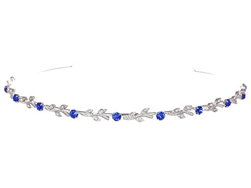 Flexible Elegant Vine Design Headband Tiara - Saphire Blue Silver Plated T108