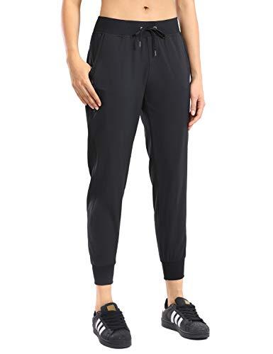 CRZ YOGA pantalones de correr ligeros para mujer con bolsillos con cordón ajustable para entrenamiento con cintura elástica,  Negro, XL