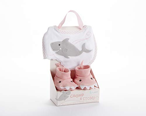Baby Aspen Chomp and Stomp Shark Bib and Booties Gift Set, Pink