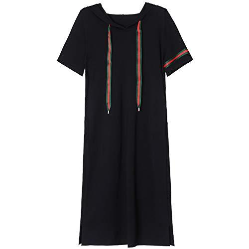 BINGQZ Cocktailjurken Katoenen jurk damessport en vrijetijdsrok lange zwarte zomerjurk met korte mouwen