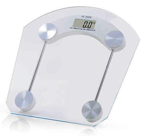 Just Home Rack & Pack Bascula Corporal Digital Personal de Baño Cristal Templado Práctica Liviana Diagnostica Balanza Mide Peso para Baño Pantalla LCD Interior