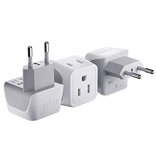European Travel Plug Adapter by Ceptics Europe Power Adaptor Charger Dual Input - Ultra Compact -...