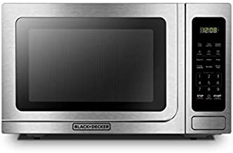 BLACK+DECKER EM036AB14 Digital Microwave Oven with Turntable Push-Button Door, Child Safety Lock, Stainless Steel, 1.4 Cu.ft