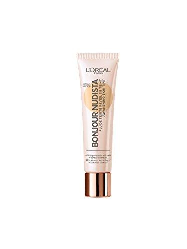 L'Oréal Paris Getönte Tagescreme mit strahlendem Finish, Feuchtigkeitsspendende Tagespflege mit Aprikosen-Öl und Grüntee-Extrakt, Bonjour Nudista Awakening Skin Tint BB Cream, Medium, 1 x 30 ml