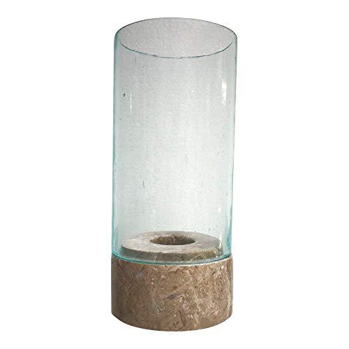 PTMD dasmöbelwerk Windlicht Mamorfuß Glasaufsatz Teelicht Kerzenständer Home Collection 647759