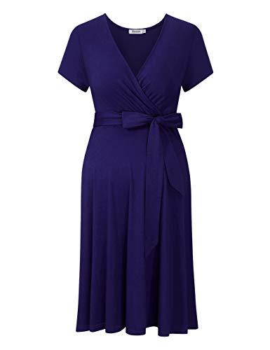KOJOOIN Damen Umstandskleid Schwangerschafts Kleid für Schwangere Stillkleid V-Ausschnitt Langarm mit Taillengürtel Kurzarm blau L
