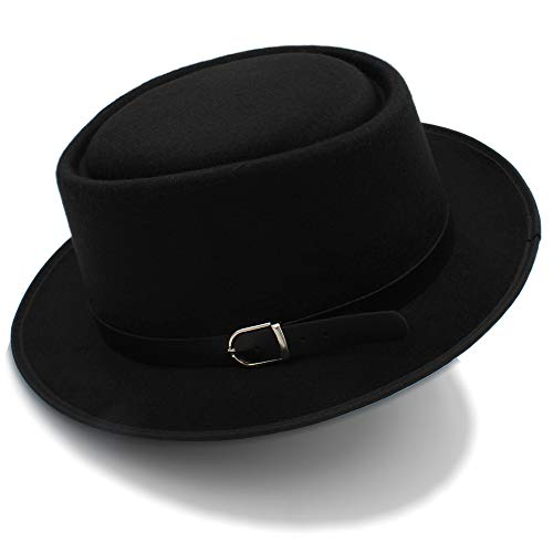 Happy-L Hat, Wolle breite Krempe der klassischen Wintermänner schwarzer männlicher Schweinefleisch-Kuchen-Hut fühlte Fedora-Hüte,Leisure Fashion Cap. (Farbe : Schwarz, Größe : 56-58cm)