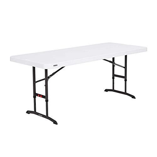Lifetime 80752 Commercial Adjustable Height Folding Table, 6-Foot, White Granite