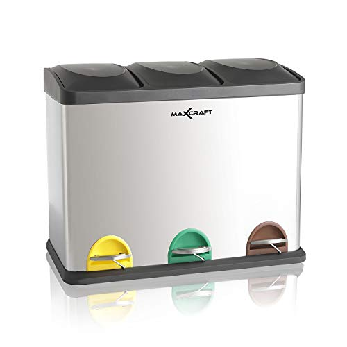 Cubo de Basura Cubo de Reciclaje Basurero Acero Inoxidable Cocina 3 Contenedores con Tapas Capacidad para 45 litros (3 x 15 litros)