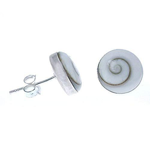 Muschel Schmuck (Ohrringe) Muschel Operculum Kreiselschnecke Ohrstecker Größe ca. 6 mm 925er Sterling-Silber Modellnummer 2125
