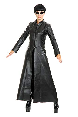 Charades Damen Cypher Enigma Coat Kostüme für Erwachsene, schwarz, Large