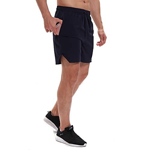 Yageshark Herren Shorts Sport Kurze Hosen Sommer Schnelltrocknende Laufshorts Fitness Outdoor Sweatshorts mit Reißverschlusstasch (Marine, Medium)
