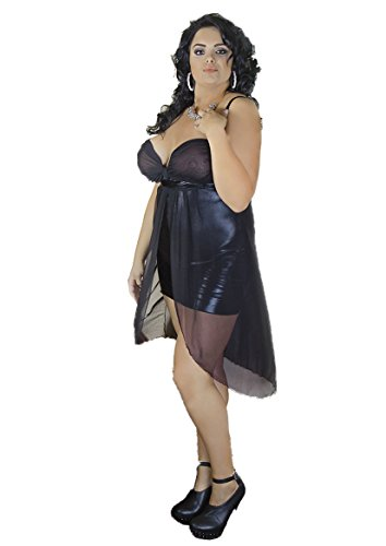 Andalea Wetlook Chemise XXL elastisch mit Schlitz und Tüllumhang Damen Negligee Nachtkleid in schwarz (54/56)