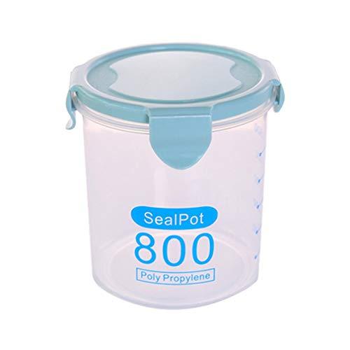 WEQQ Latas Selladas de plástico multifuncionales Hogar Cocina Frasco de Almacenamiento de Granos de Alimentos (BlueM)