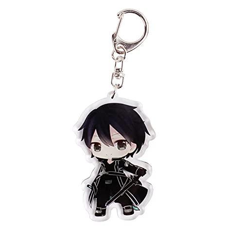 BJSBJD Llavero Anime Sword Art Online Kirito Game Personaje Llavero, Juego de Roles Llavero Accesorios Colgantes, Adecuado para Regalos para Adolescentes y niños,6×4,1cm