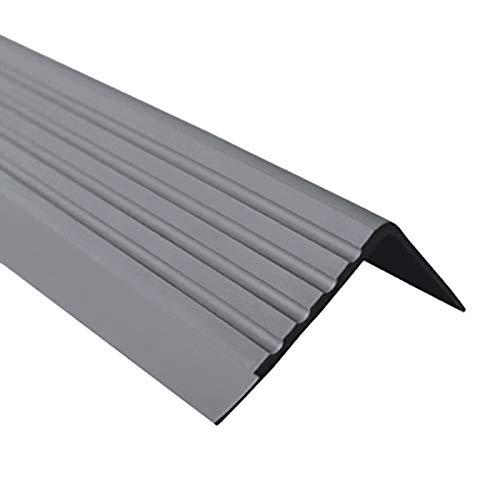Anti-Rutsch Treppenkantenprofil für Treppenstufen Winkelprofil PVC Gummi RD, 40x40mm, 1.5 Meter (dunkelgrau)