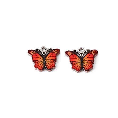 QINS Colgante de Mariposa con dijes de 10 Piezas, Colgante de Animal de Aceite de Gota Colorido para Collar,joyería dePendiente
