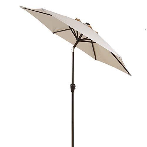 ERLAN Parasol Jardin Sombrilla Redonda para Patio, 2,25m Pequeño Sombrillas de Mesa Al Aire Libre con Botón de Inclinación, UV50 +, 8 Varillas de Acero Resistentes (Color : Beige)