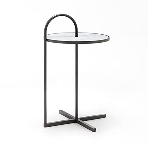 JCNFA MESAS Mesa auxiliar lateral en forma de C,Mesa de bocadillos de mármol sintético Con soporte de café para portátil con asa de metal,Mobiliario moderno, 2 c(Size:15.74*15.74*18.50in,Color:blanco)