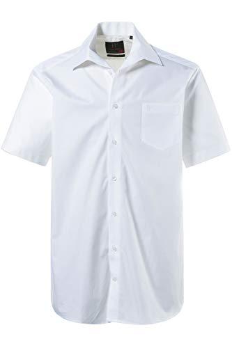 JP 1880 Herren große Größen bis 8XL, Kurzarm Businesshemd aus Reiner Baumwolle, mit Brusttasche, Variokragen & Comfort Fit weiß 4XL 705178 20-4XL