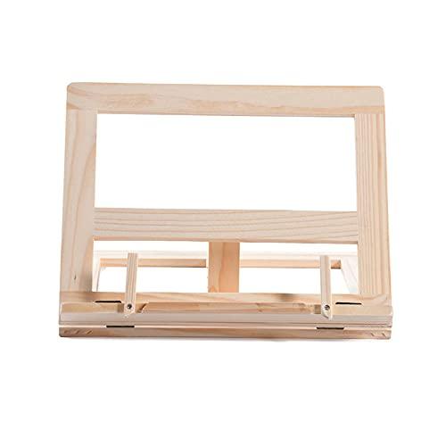 Soporte de libro de recetas de bambú, antideslizante, para leer, escritorio, plegable y ajustable