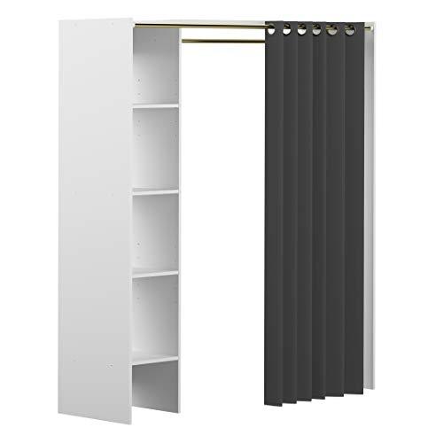 Marchio Amazon -Movian Arga - Guardaroba, 123/160 x 50 x 182 cm (L x P x A), struttura in colore bianco con tenda grigio scuro