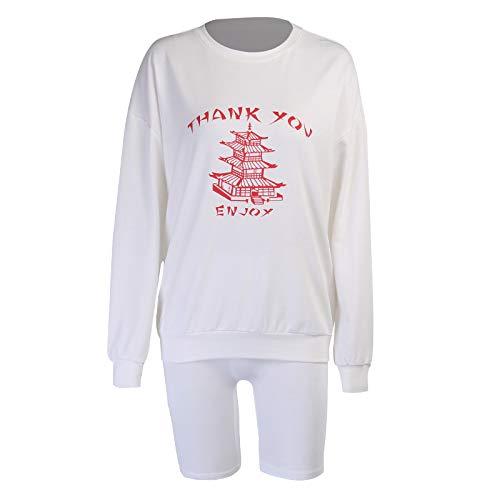 Pantalones Cortos para Mujer Pantalones Cortos de suéter Estampados a la Moda Traje Suelto y Simple Temperamento Callejero Casual Traje de Dos Piezas de Manga Larga M