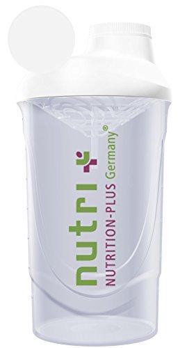 Classic Shaker (Transparent) 600ml Wave für Eiweißdrinks Protein Shakes und Diät - mit Schraubverschluss und Siebeinsatz - BPA-frei - Nutri-Plus