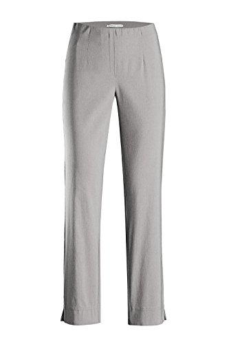Stehmann - Stretchhose INA 740 - VIELE Farben - Mit EXTRA-Fashion Armreif -Gerade geschnittene Pull-On Hose mit Schlitz, Hosengröße:40, Farbe:Silber