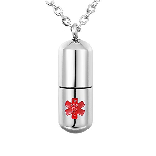Valyria Stainless Steel Cylinder Memorial Jewelry Capsule Medicine Pill Pendant Necklace