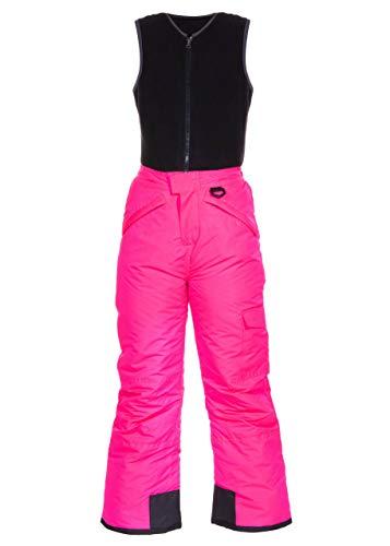Arctic Quest Polar Fleece Water Resistant Insulated Unisex Boys and Girls Unisex Ski & Snow Bib Pants Overalls, Pink Glow, 7/8