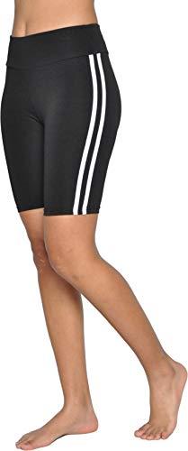 Pantalón Corto de Yoga Deportivo Fitness Mujer Yoga Shorts de Rayas Cintura Alta Control de Barriga Talla Regulares y Grandes, Negro Y23028 XL-XXL