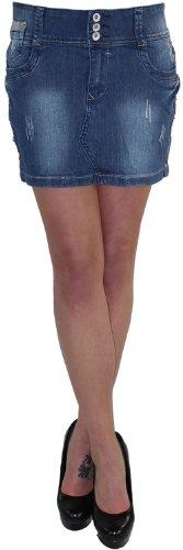 Damen Jeans Minirock Mini Rock Jeansrock Sommerrock Hüft Hüftrock Stretch HU936 36