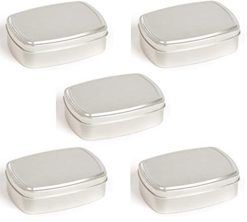5 rechteckige Kronenberg24 Metalldosen aus Aluminium 150ml 96x70x28mm Aluminiumdosen mit Deckel für Kosmetika und Lebensmittel Gewürzdose