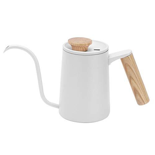 Hervidor de café de 650 ml para el hogar, cafetera de acero inoxidable 304, hervidor de café de mano con cuello de cisne, hervidor de agua, herramientas de café para la oficina en casa(blanco)