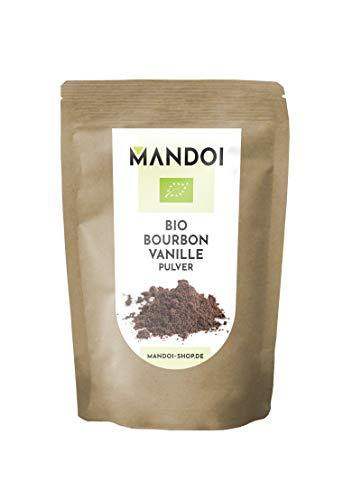 Mandoi BIO Bourbon Vanillepulver gemahlen, 15g. Gemahlenes Pulver von echten Vanilleschoten. Vanilla Powder aus Madagaskar. ohne Zusätze