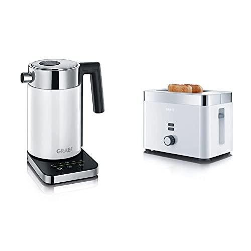 Gebr. Graef WK 501 WK501EU Wasserkocher, 1 Liter, weiß/edelstahl & Toaster TO 61, weiß