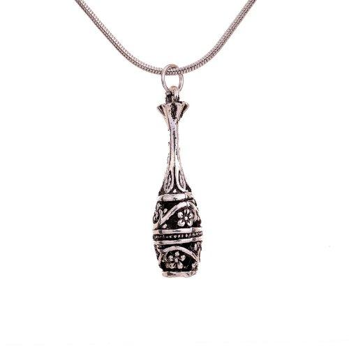 Yazilind Vintage- Schmuck Geschenk tibetischen Silber Vase Form Blume Geschnitzte Halskette Pandent Kleidung f¨¹r Frauen