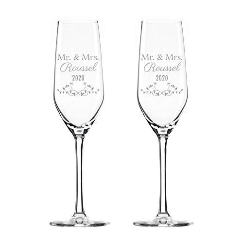 Champán 2 copas de cristal, personalizadas con grabado - cristal (2)