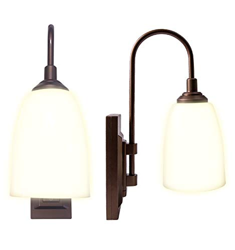 Westek Battery Operated Wall Sconce, 2 Pack – 100 Lumens, 4 Hour Auto Shut-Off – Plastic with Bronze Finish – Easy Wireless Installation Battery Wall Sconce – 2 Settings, Full or Dim