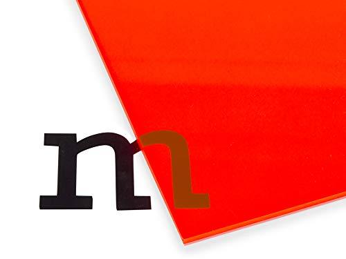 Modulor Acrylglas GS farbig, vielfältig nutzbare und fluoreszierende Acrylglasplatte für Lichtobjekte und Beleuchtungszwecke, 3 mm dicke Acrylplatte in 24,5 x 49,5 cm, rot transparent