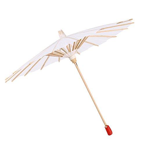 Bewinner Witboek Paraplu Parasol Decoratieve Parasol Bruidsfeest Decor Intrekbare Papieren Paraplu voor Foto Cosplay Prop, Cosplay, Bruiloft Decor (20CM)