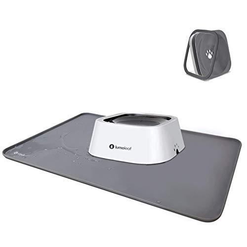 LumoLeaf Dog Water Bowl+Dog Food Mat.No-Spill&No-Slip Dog Bowl Mat Combination, Dog Placemat for No Spill Dog Water Bowl to Protect Your Floors.